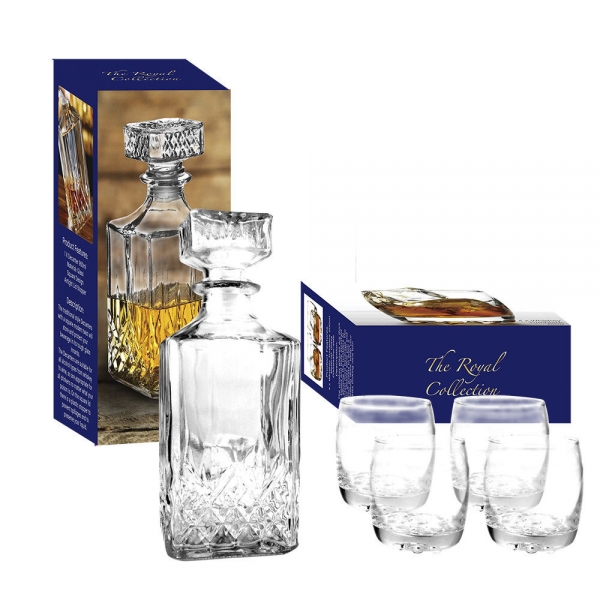 Set 4 pahare+Decanter Whisky, The Royal Collection