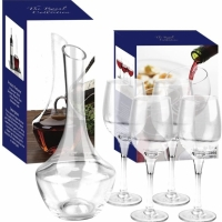 Set pentru vin, 4 pahare si decantor din sticla, The Royal Collection, AB0131